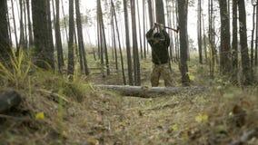 Lenhador nas madeiras, madeira da costeleta com um machado video estoque
