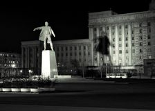 Lenin. Monument to Lenin on the one of the squares of St.Petersburg, Russia. Night scene Royalty Free Stock Images