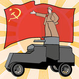 Lenin on armored car. Lenin on the armored car on a background of the red flag. Poster, satire,  illustration Royalty Free Stock Photography