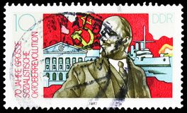 Lenin, building cruisers, 70th Anniversary Of The October Socialist Revolution serie, circa 1987. MOSCOW, RUSSIA - MARCH 30, 2019: A stamp printed in Germany stock photo