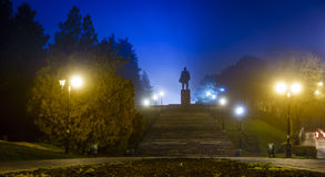 Lenin in fog Stock Images