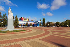 Lenin fyrkant i den stads- byn Anna, Ryssland Royaltyfri Bild