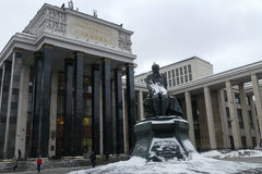 Lenin Library in Moscow in the winter. And a monument to Dostoevsky royalty free stock image