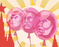 Lenin Marx Engels. Balloons with the portraits of Lenin, Marx and Engels on the background of the sun and the Red square depicted in the style of Soviet poster Stock Photos