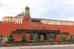 Lenin Mausoleum. And Kremlin's tower at Red Square in Moscow, Russia Royalty Free Stock Photography