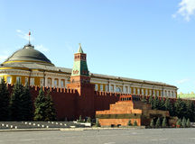 Lenin Mausoleum. And Kremlin's tower at Red Suare in Moscow, Russia royalty free stock photography