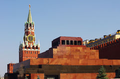 Lenin Mausoleum and Kremlin`s tower at Red Square Stock Photo