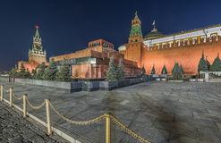 The Lenin mausoleum on red square at night. Royalty Free Stock Images