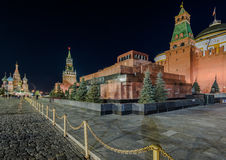The Lenin mausoleum on red square at night. Stock Image