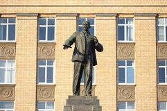 Lenin monument and administration building in Orel, Russia. Horizontal Royalty Free Stock Image