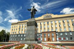 Lenin monument and city administration building in sunny day in. Oryol city Royalty Free Stock Image