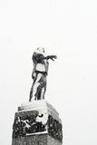 Lenin monument in Orel, Russia covered in snow Royalty Free Stock Photography