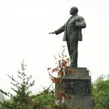 Lenin monument in Orel, Russia with fur trees Royalty Free Stock Image