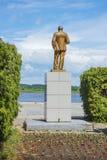 Lenin monument på bankerna av Volgaen, Balakhna Fotografering för Bildbyråer