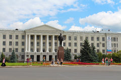 Lenin monument and Pskov State University. Pskov city, Russia. Royalty Free Stock Images