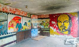 Soviet soldiers club Skrunda, Latvia. Lenin mosaic in soldiers club building of abandoned former Soviet military town Skrunda in Latvia Royalty Free Stock Photography