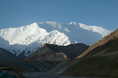 Lenin peak. Pamir mountains, Kyrgyzstan. View from the North Stock Photos