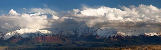 Lenin Peak from Alay range - Kyrgyz Pamir Mountains Stock Image