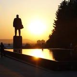 Lenin Quadrat. Lenin Denkmal und fontain von Rissen Lizenzfreie Stockfotografie