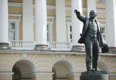 Lenin's bronze sculpture. In front of a building of the government of Saint Petersburg Royalty Free Stock Images