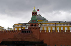 Lenin's mausoleum, and the Senate tower Senate building on Red Square. Stock Photo