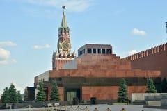 Lenin`s mausoleum and Spasskaya tower of the Kremlin. Stock Images