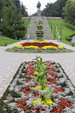 Lenin's square. Lenin's memorial and stairway and flowerbed Royalty Free Stock Photography
