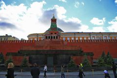Lenin`s Thomb on the Red Square Moscow Russian Federation. Lenin`s Mausoleum on the Red Square Moscow Russian Federation 19 october 2013 royalty free stock images