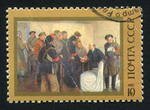 Lenin in Smolny in Oktober 1917 door Mikhail Sokolov Royalty-vrije Stock Afbeeldingen