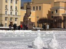 Lenin and snowmens Royalty Free Stock Photo
