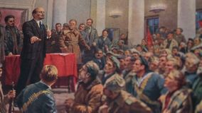 Lenin speaks at a congress. Of Soviets, next to him are comrades Stalin and Trotsky, illustration in the page of the Great Encyclopedia circa 1952