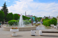 Lenin Square in the centre of Tarusa, Kaluga region, Russia. Lenin Square in Tarusa, Kaluga region, Russia Stock Photos