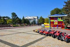 Lenin Square and the theatre in Kerch city Stock Photos