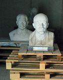 Lenin and Stalin Memento Park Budapest Hungary. Bust of Lenin and Stalin at Memento Park, or Szoborpark is an open-air museum in Budapest, Hungary, dedicated to royalty free stock photo