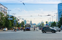 Lenina street in the center of Yekaterinburg Royalty Free Stock Photo