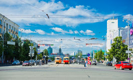 Lenina street in the center of Yekaterinburg Royalty Free Stock Images