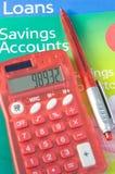 Leningen en besparingsrekeningen. Stock Foto's