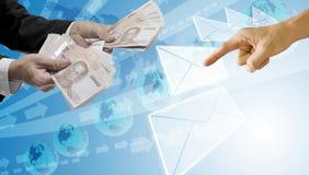 Leningen en brief van bank, e-bankwezen stock afbeelding