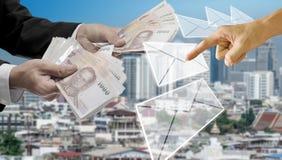 Leningen van bank, e-bankwezenconcept stock afbeeldingen