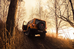 Leningrad oblast , Kirovsky district, Russia , December 25, 2015 , Jeep Wrangler in the forest, the Jeep Wrangler is a compact fou Stock Photo
