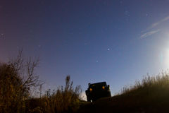 Leningrad region, Russia OCTOBER 26, 2015: photos of the jeep Wrangler in the moonlight , Wrangler is a compact four wheel drive Royalty Free Stock Photo