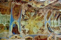 Leningrad region, Ryssland, September, 13, 2015, Svyatotroitsky Alexander-Svirsky kloster, fragment av frescoesna av Treenighet Royaltyfria Foton