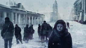 Leningrad siege illustration. Stock Photography