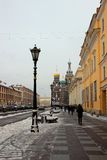 Leningrad street and overlooking the Cathedral Royalty Free Stock Photography