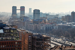 Leningradsky prospekt in Moscow in day with smog Royalty Free Stock Image