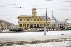 Leningradsky railway station in Moscow Royalty Free Stock Photo