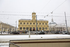 Leningradsky railway station in Moscow Stock Image