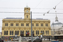 Leningradsky railway station in Moscow Royalty Free Stock Images