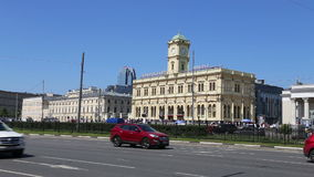 Leningradsky railway station-- is one of the nine main railway stations of Moscow, Russia.  stock video
