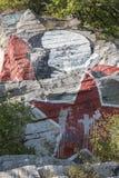 Lenins stående som är nedsmutsad vid målarfärg på berget Mashuk, Pyatigo Arkivbilder